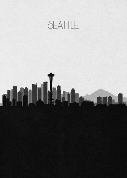 Wall Art - Digital Art - Seattle Cityscape Art V2 by Inspirowl Design
