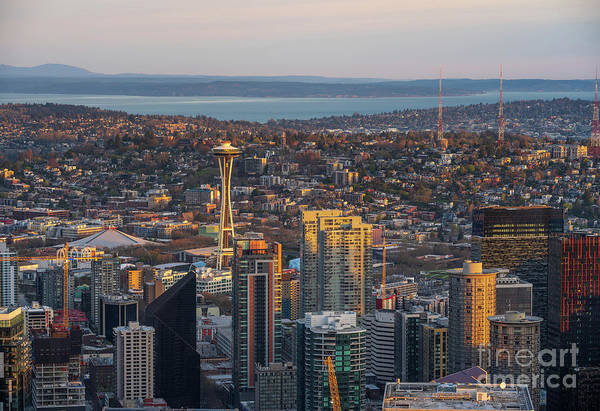 Wall Art - Photograph - Seattle Cityscape Golden Morning Light by Mike Reid