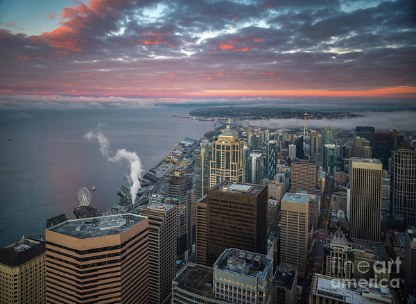 Wall Art - Photograph - Seattle Cityscape Sunrise Clouds by Mike Reid