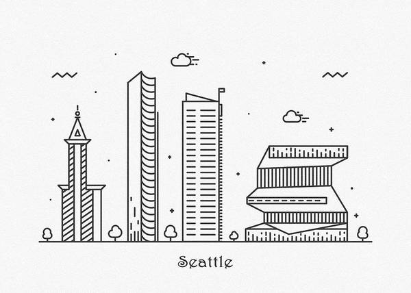 Wall Art - Drawing - Seattle Cityscape Travel Poster by Inspirowl Design