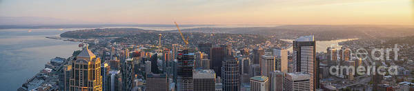 Wall Art - Photograph - Seattle Dawn Light Panorama by Mike Reid