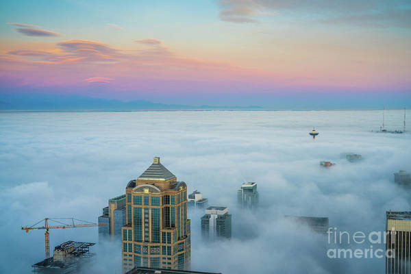 Wall Art - Photograph - Seattle Emerges From The Clouds At Dawn by Mike Reid