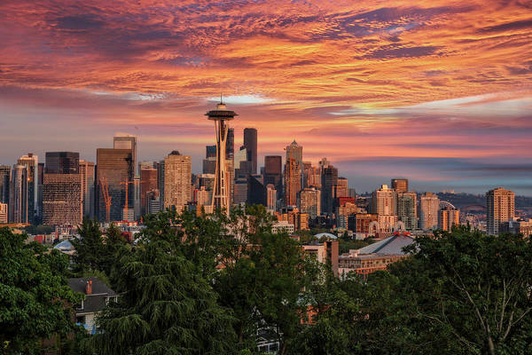 Photograph - Seattle Glow by Wes and Dotty Weber