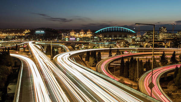 Interstate 5 Wall Art - Photograph - Seattle Highway Night Trails by Michael Lee