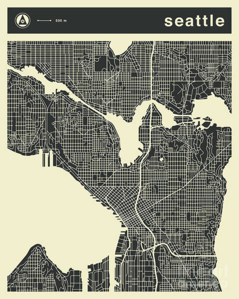 Seattle Digital Art - Seattle Map 3 by Jazzberry Blue