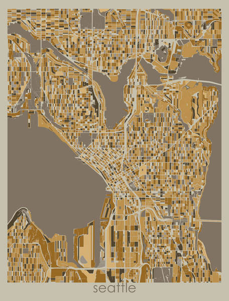 Wall Art - Digital Art - Seattle Map Retro 4 by Bekim M