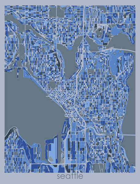 Wall Art - Digital Art - Seattle Map Retro 5 by Bekim M