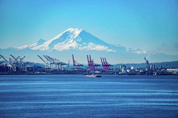 Photograph - Seattle Port With Red Cranes And Boats With Mt Rainier  by Alex Grichenko