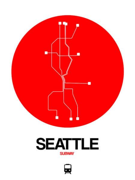 Wall Art - Digital Art - Seattle Red Subway Map by Naxart Studio