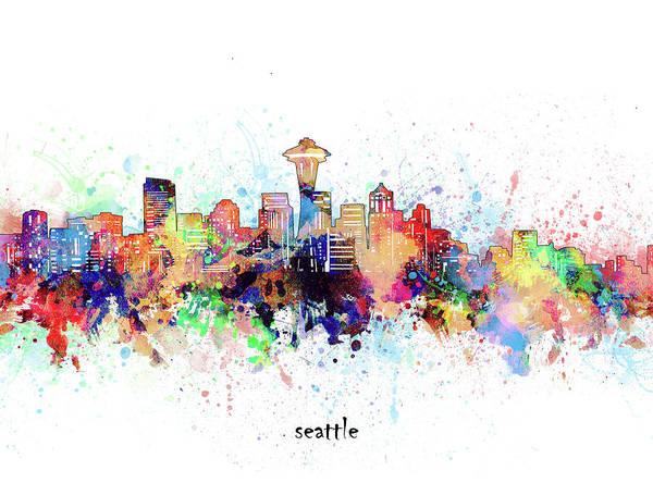 Wall Art - Digital Art - Seattle Skyline Artistic by Bekim M