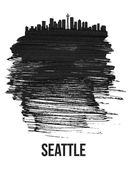 Country Mixed Media - Seattle Skyline Brush Stroke Black by Naxart Studio