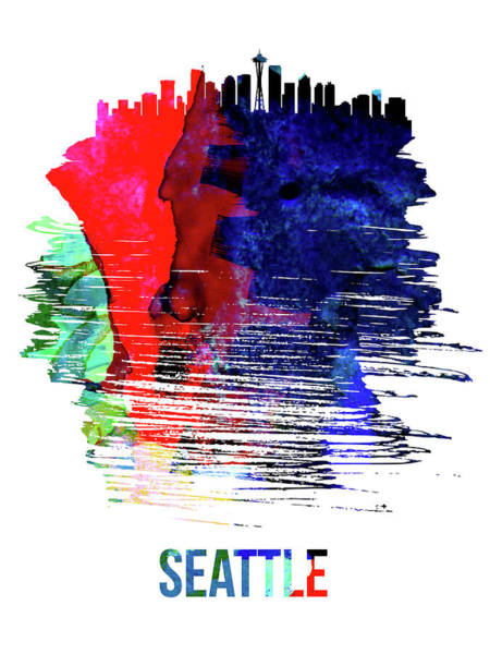 Country Mixed Media - Seattle Skyline Brush Stroke Watercolor   by Naxart Studio