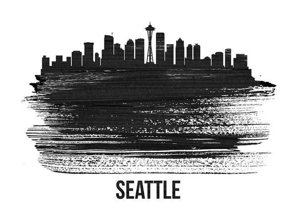 Country Mixed Media - Seattle Skyline Brush Stroke White by Naxart Studio