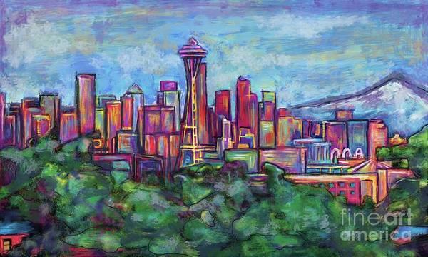 Mounted Digital Art - Seattle Skyline by Julianne Black DiBlasi
