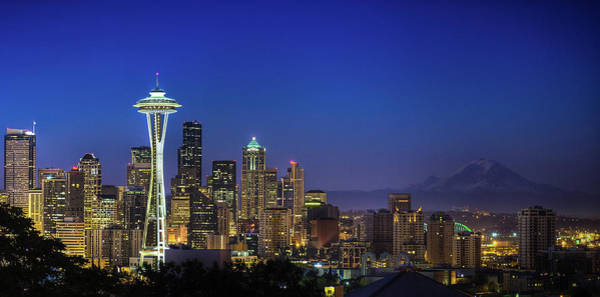 Dawn Photograph - Seattle Skyline by Sebastian Schlueter (sibbiblue)