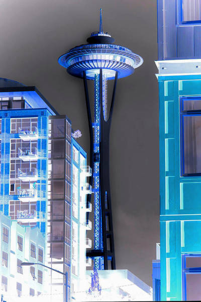 Negative Space Digital Art - Seattle Spece Needle - Negative Blue by Marlene Watson