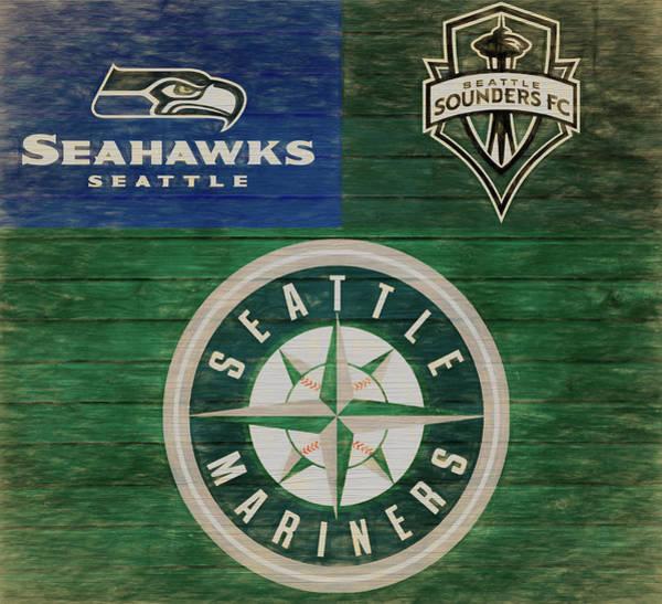 Mixed Media - Seattle Sports Teams Barn Door by Dan Sproul