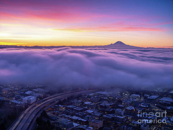 Wall Art - Photograph - Seattle Sunrise City Under The Clouds by Mike Reid