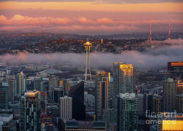 Wall Art - Photograph - Seattle Sunrise Fog Layer by Mike Reid