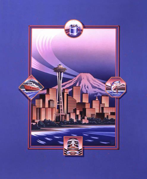 Wall Art - Painting - Seattle Sunset by Garth Glazier