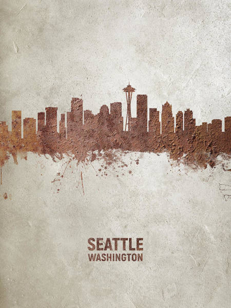 Seattle Digital Art - Seattle Washington Rust Skyline by Michael Tompsett
