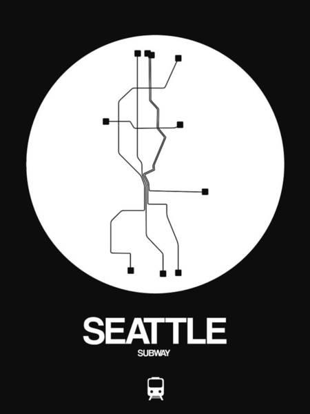 Subway Map Wall Art - Digital Art - Seattle White Subway Map by Naxart Studio