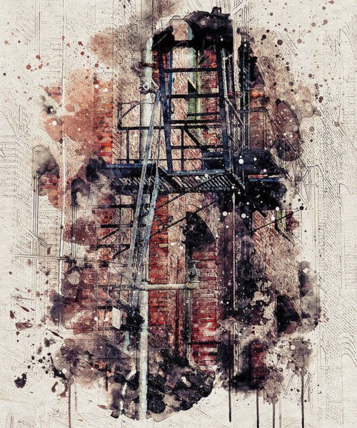 Digital Art - Fire Escape Abstract by Marilyn Wilson