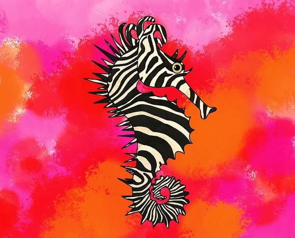 Wall Art - Mixed Media - Seazebra Tie Dye Pinks N Orange by Joan Stratton