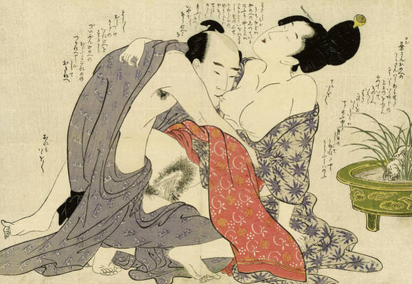 Wall Art - Painting - Secret Affair Between A Married Man And A Married Woman, 1799 by Kitagawa Utamaro