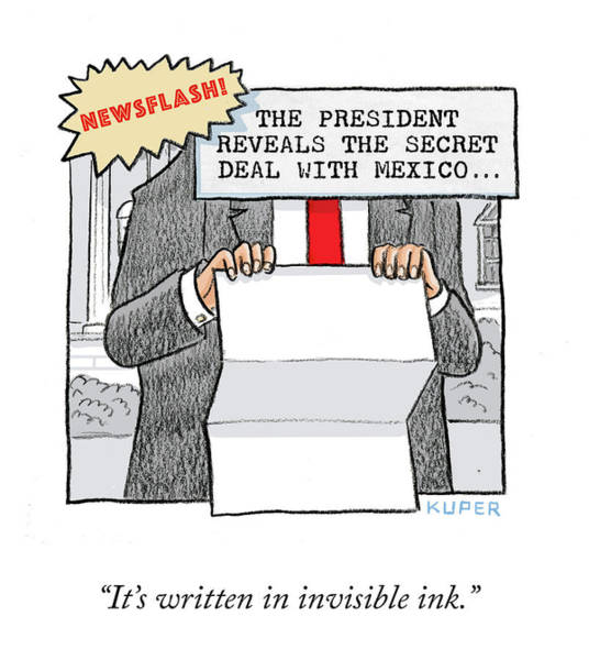 Drawing - Secret Deal With Mexico by Peter Kuper