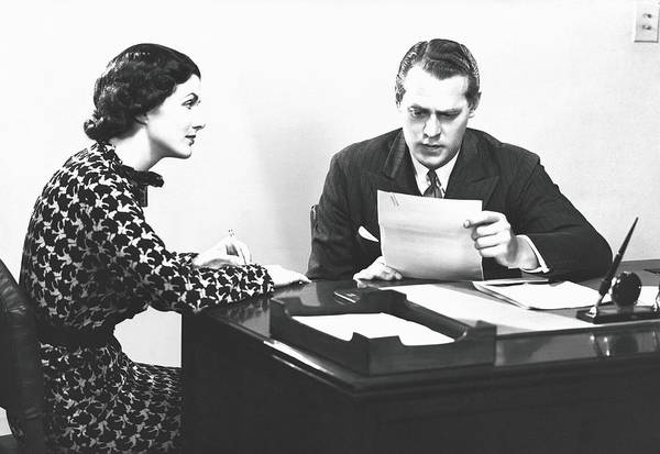 Paper Dress Photograph - Secretary Assisting Businessman Reading by George Marks