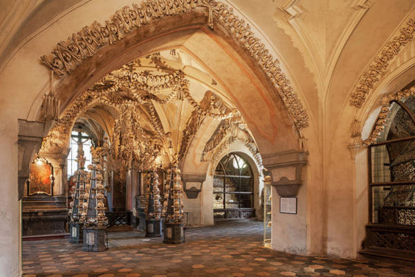 Bone Structure Wall Art - Photograph - Sedlec, All Saints Chapel, The Ossuary by Maremagnum