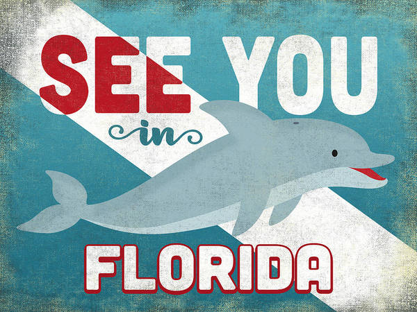 Wall Art - Digital Art - See You In Florida Dolphin by Flo Karp