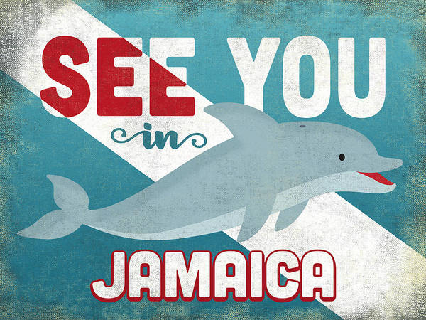 Wall Art - Digital Art - See You In Jamaica Dolphin by Flo Karp
