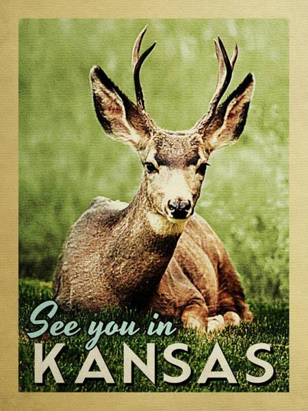 Wall Art - Digital Art - See You In Kansas Deer by Flo Karp