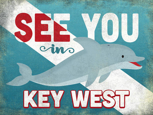 Wall Art - Digital Art - See You In Key West Dolphin by Flo Karp