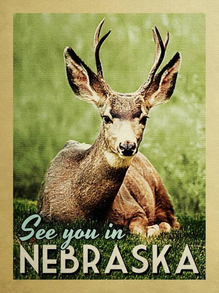 Wall Art - Digital Art - See You In Nebraska Deer by Flo Karp