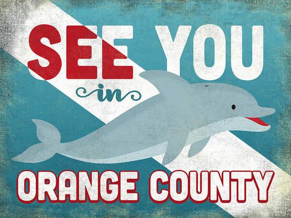 Orange County Digital Art - See You In Orange County Dolphin by Flo Karp