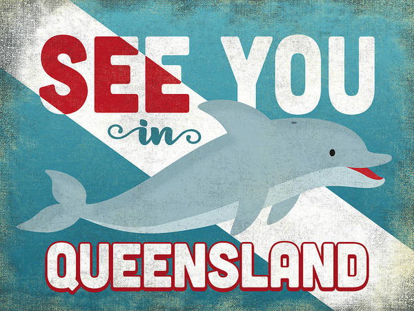 Queensland Digital Art - See You In Queensland Dolphin by Flo Karp