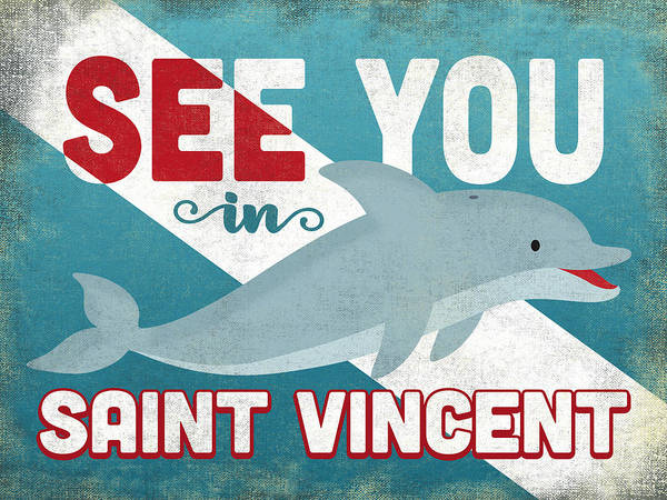 Wall Art - Digital Art - See You In Saint Vincent Dolphin by Flo Karp