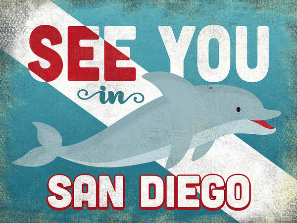 Wall Art - Digital Art - See You In San Diego Dolphin by Flo Karp
