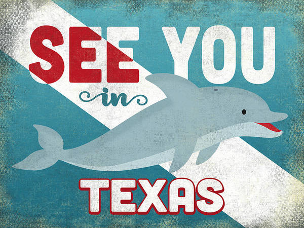 Wall Art - Digital Art - See You In Texas Dolphin by Flo Karp