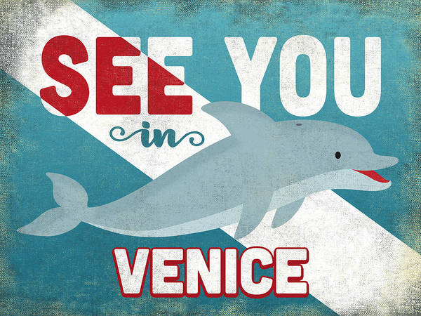 Wall Art - Digital Art - See You In Venice Dolphin by Flo Karp