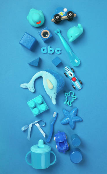 Blue Background Photograph - Selection Of Blue Toys On Blue by Gary Ombler