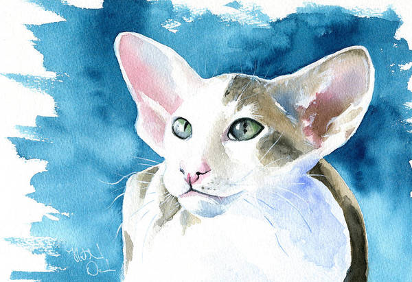 Cattery Painting - Selene Peterbald Cat Painting by Dora Hathazi Mendes