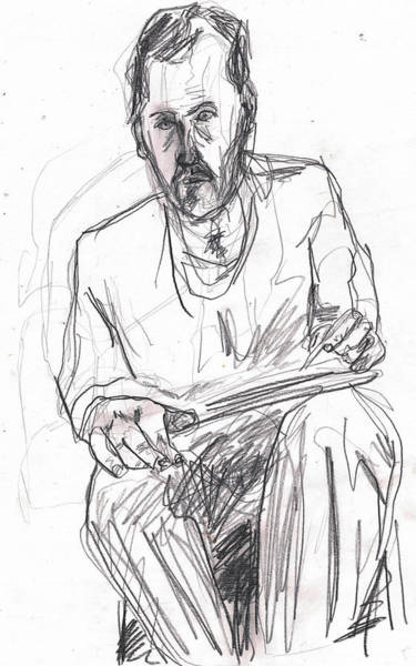 Drawing - Self Drawing In Mirror by Artist Dot