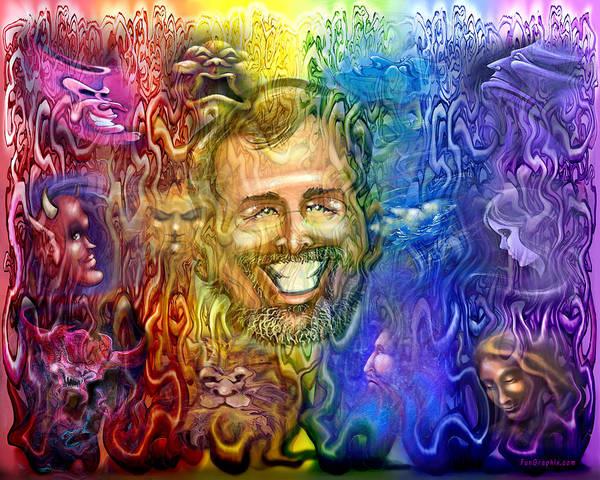 Digital Art - Self Portrait As Interwoven Spectrum Of Emotions by Kevin Middleton