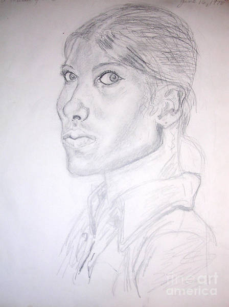 Caucasian Drawing - Self Portrait At Fifteen by Genevieve Esson