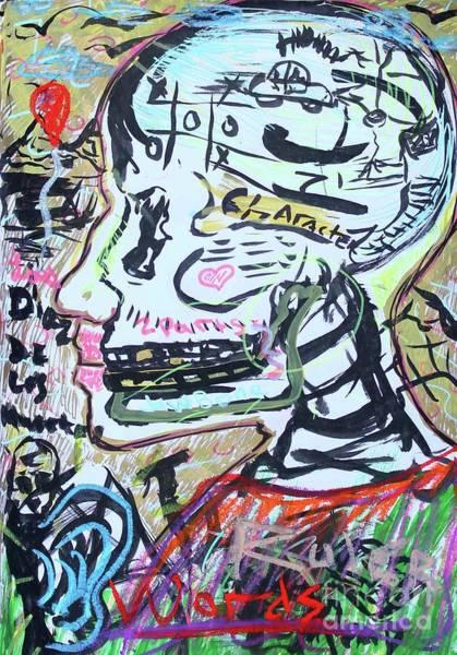Pastel - Self Portrait Expressionist 2 by Odalo Wasikhongo