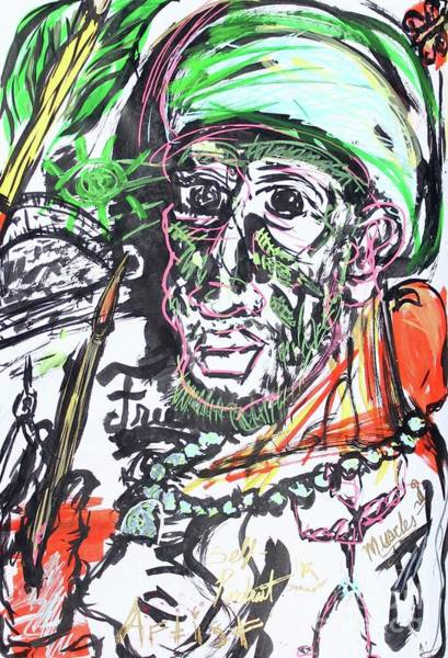 Pastel - Self Portrait Expressionist by Odalo Wasikhongo